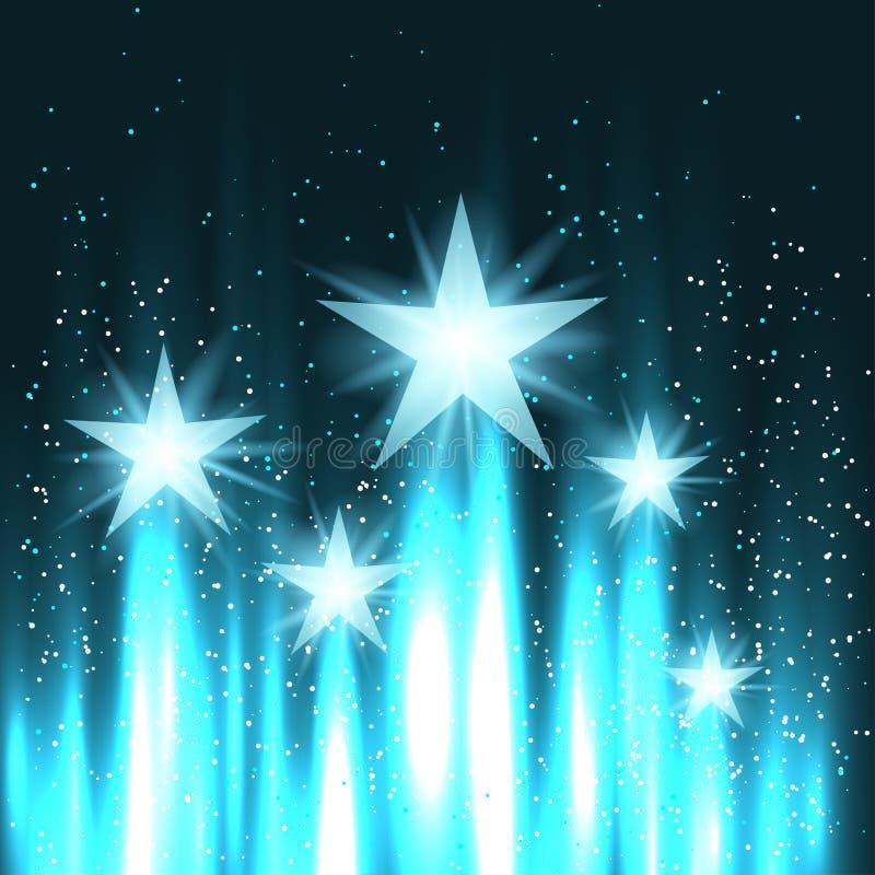 As estrelas aumentam acima no céu ilustração stock