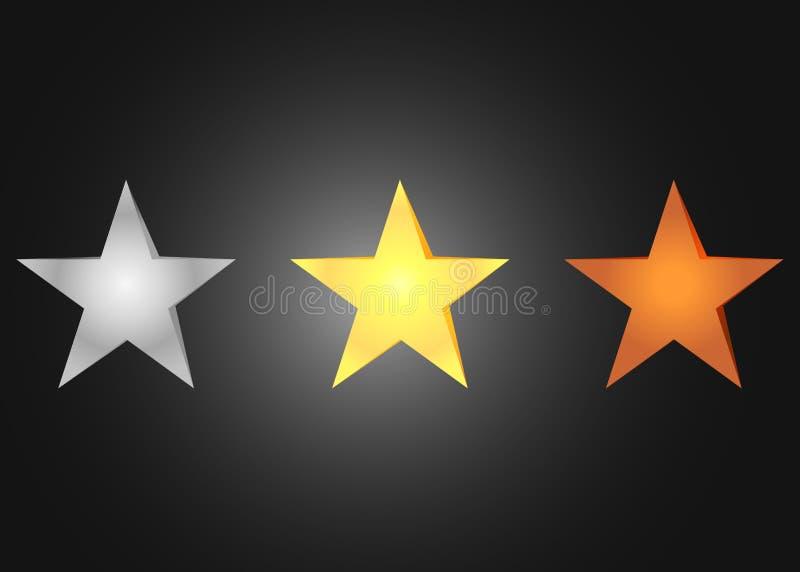 As estrelas bronzeiam, prata e dourado Grupo de estrelas brilhantes ilustração royalty free