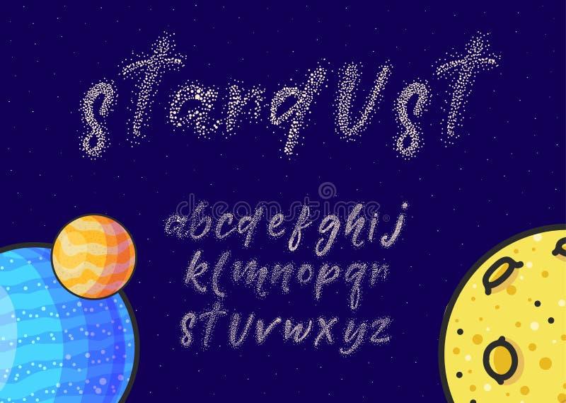 As estrelas de brilho entregam o grupo tirado do vetor do alfabeto ilustração royalty free