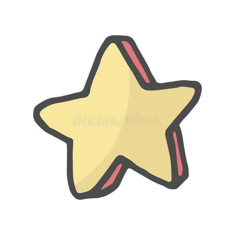 As estrelas decorativas tiradas a mão livre da cor dos desenhos animados rabiscam a ilustração ilustração stock