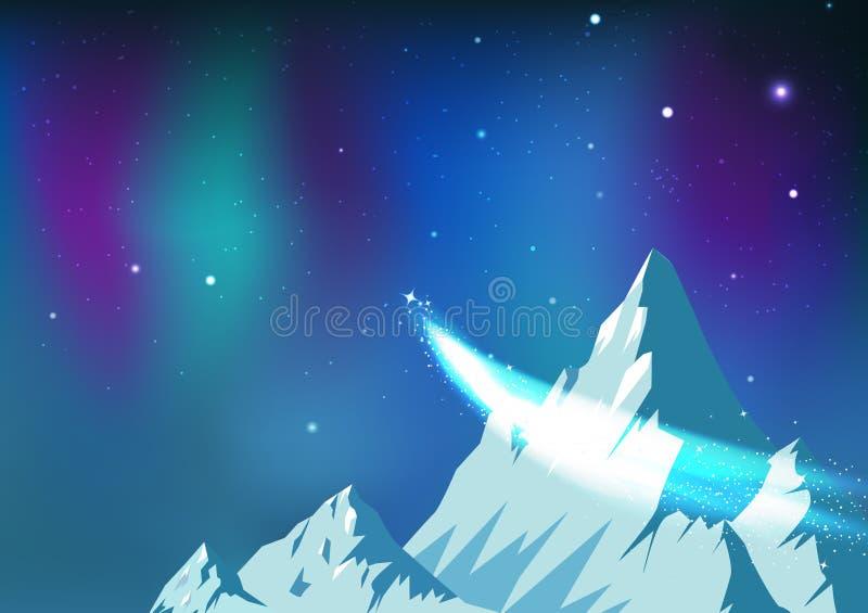 As estrelas dispersam, cometa que viaja no céu noturno com Aurora, montanhas do gelo da constelação da astronomia da fantasia aja ilustração stock