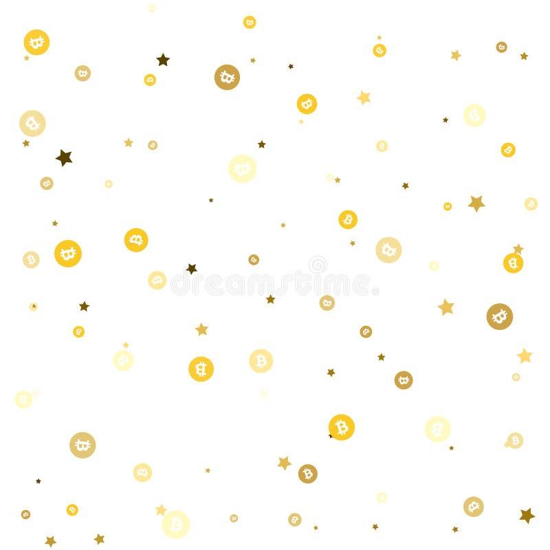 As estrelas e os bitcoins dourados do ouro estão caindo para baixo Vetor ilustração stock