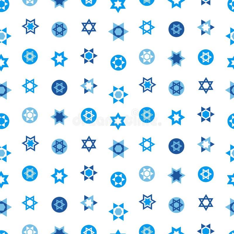 As estrelas judaicas ajustaram o teste padrão sem emenda Símbolos nacionais de Israel da estrela de David ilustração stock