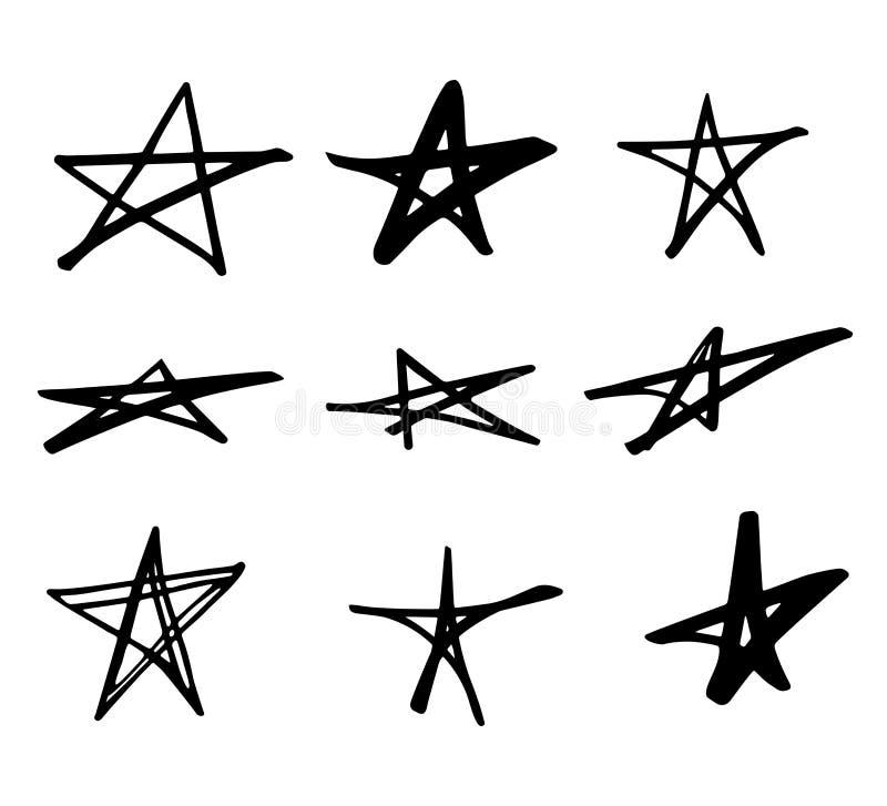 As estrelas rabiscam o grupo geométrico do vetor preto Mão bonito estrelas tiradas no fundo branco Vector a ilustração para a cóp ilustração stock