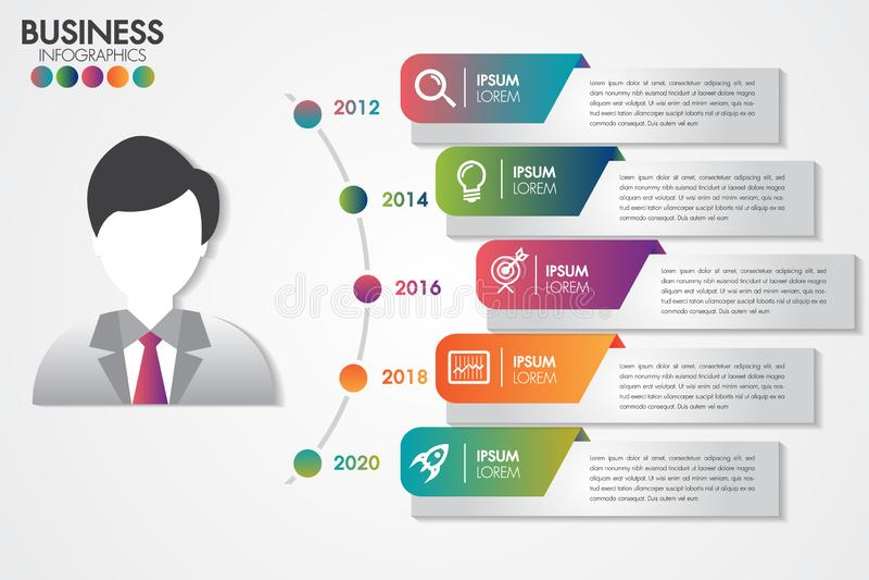 As etapas do molde 5 de Infographics para a apresentação com 5 opções ou as etapas projetam bandeiras limpas do número pode ser u ilustração do vetor