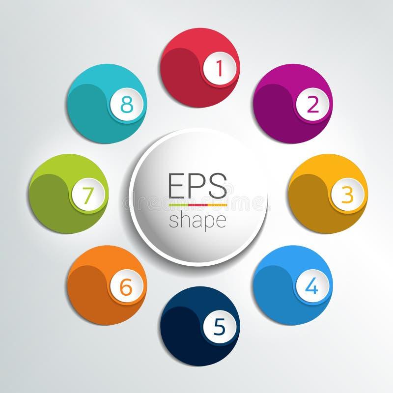 As 8 etapas infographic redondas pescam o fluxograma ilustração stock