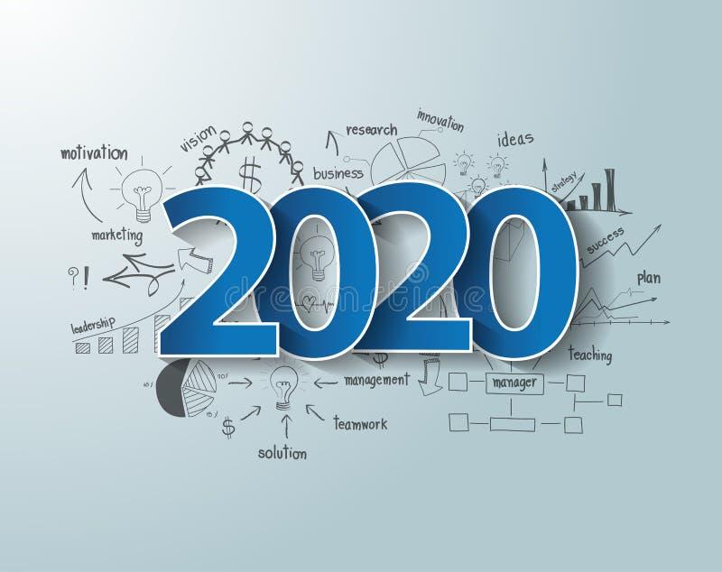As etiquetas azuis etiquetam o projeto 2020 do texto no negócio de tiragem das cartas e dos gráficos do pensamento criativo ilustração stock