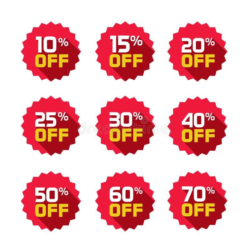 As etiquetas da venda ajustaram o molde dos crachás do vetor, 10 fora, 15, 20, 25, 30, 40, 50, 60, símbolos da etiqueta de uma ve ilustração stock