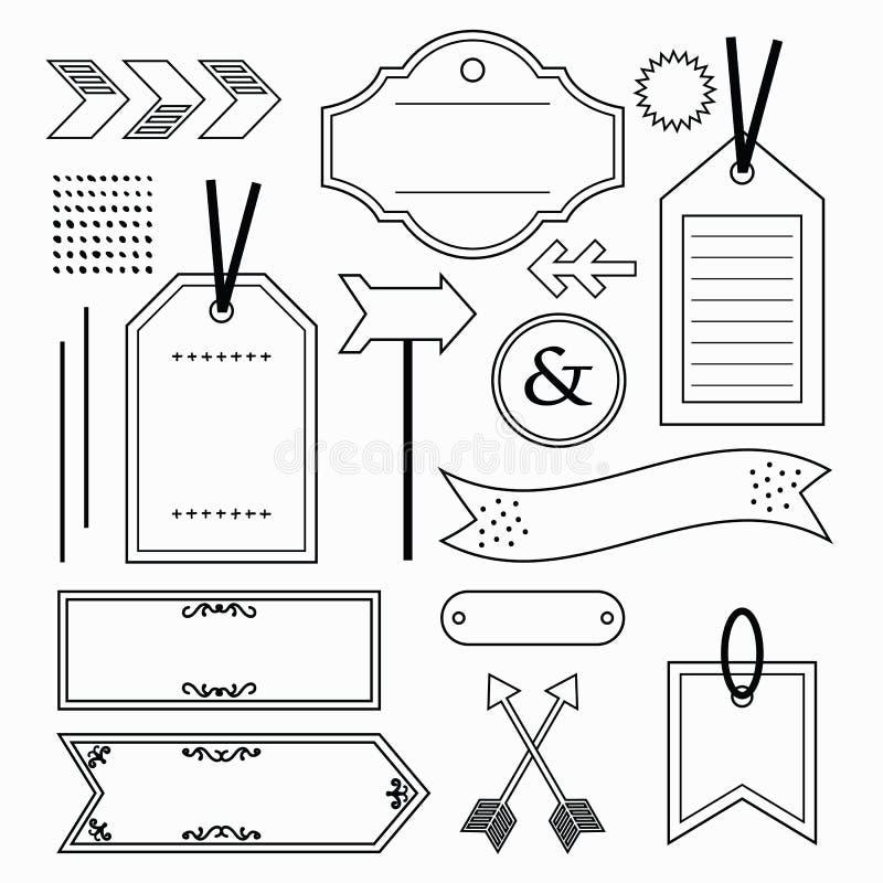 As etiquetas do esboço preto, as etiquetas, e os ícones vazios e vazios dos emblemas projetam o grupo de elemento no branco fotografia de stock