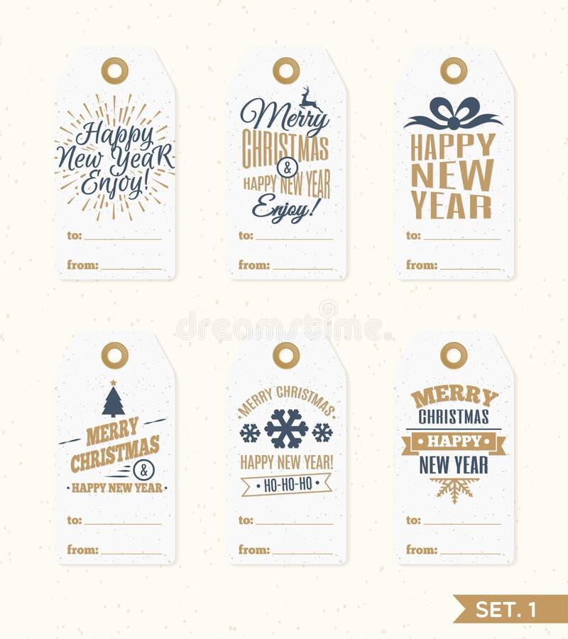 As etiquetas do Natal e os elementos do grupo de etiquetas vector a cor do ouro com cervos, floco de neve, presente ilustração royalty free