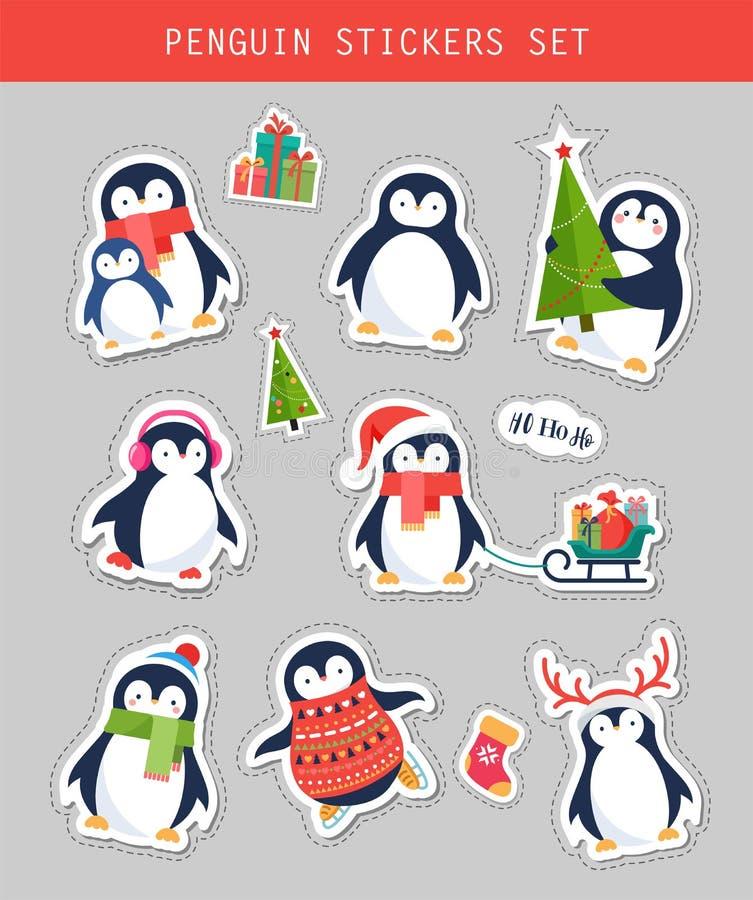 As etiquetas do pinguim do Natal ajustam-se, remendam-se e etiquetas ilustração stock