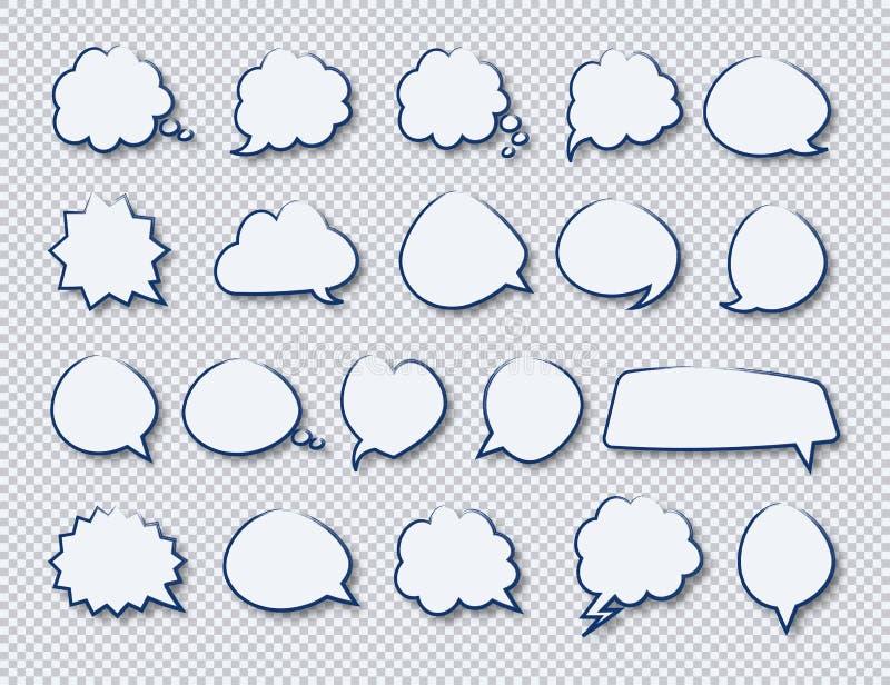 As etiquetas do vetor de bolhas da tração da mão do discurso ajustaram a cor branca com sombra ilustração stock