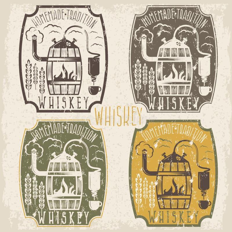 As etiquetas do vetor do vintage do Grunge do uísque dirigem o machin do álcool ilustração do vetor