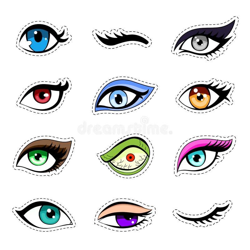 As etiquetas, grupo do remendo da mulher eyes a coleção Estilo dos desenhos animados do Anime Jogo da etiqueta do vetor ilustração royalty free