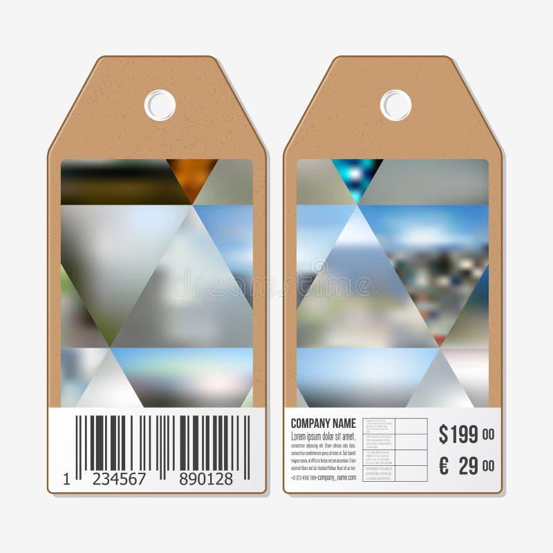 As etiquetas projetam em ambos os lados, etiquetas da venda do cartão com código de barras Fundo colorido abstrato, natureza borr ilustração royalty free