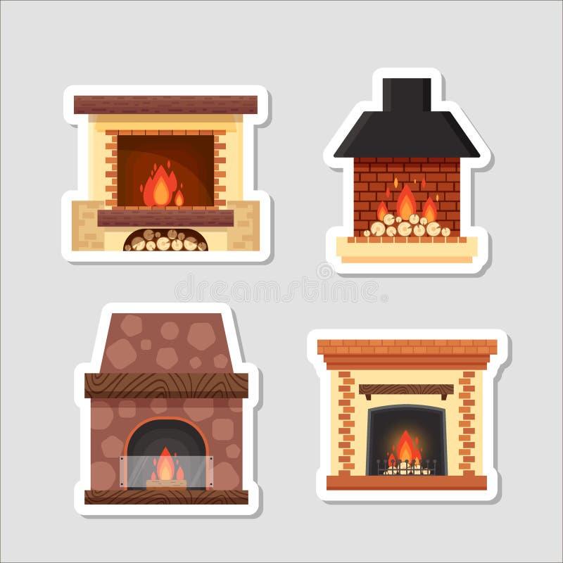 As etiquetas vector chaminés home coloridas diferentes ajustadas com fogo e lenha no fundo cinzento Elementos do projeto ilustração do vetor