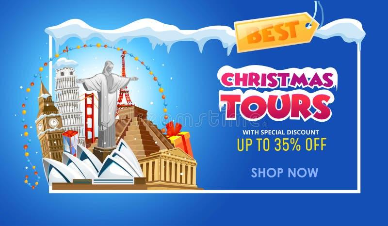 As excursões do Natal viajam molde do projeto da bandeira do promo Illu do vetor ilustração do vetor