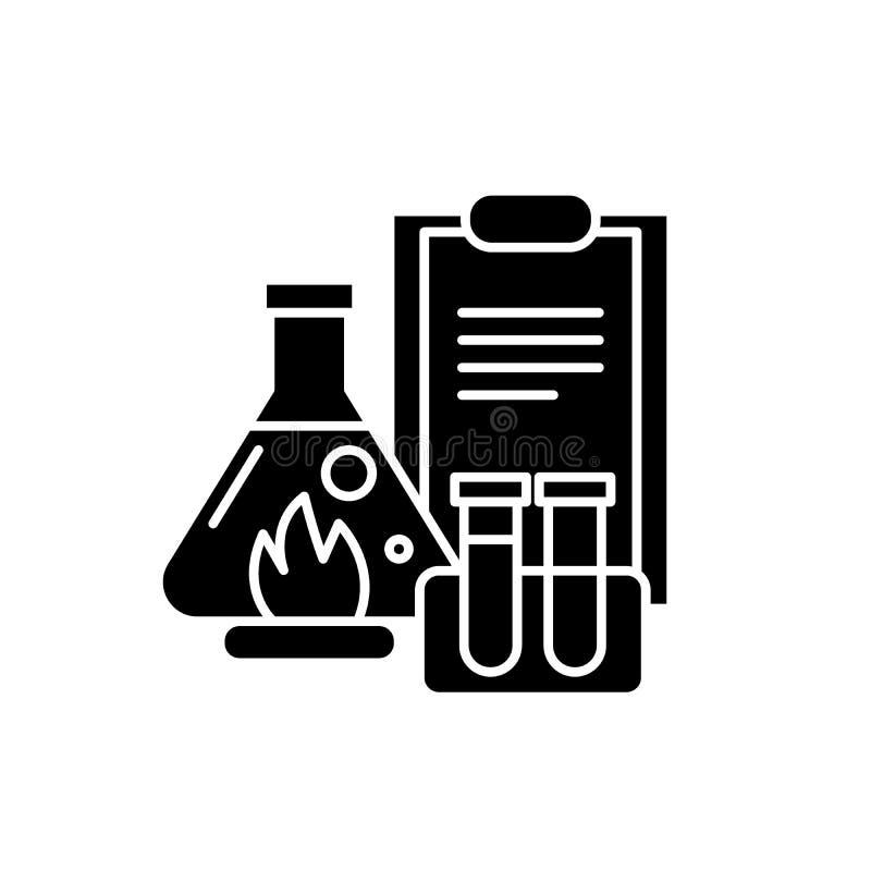As experiências químicas enegrecem o ícone, sinal do vetor no fundo isolado Símbolo químico do conceito das experiências, ilustra ilustração royalty free