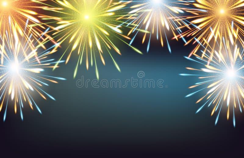 As explosões dos fogos de artifício moldam as cores horizontais em um cartão à placa do ano novo feliz ilustração do vetor