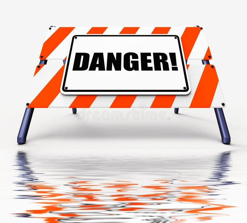 As exposições do sinal do perigo são cuidadoso o cuidado ou perigosos ilustração stock