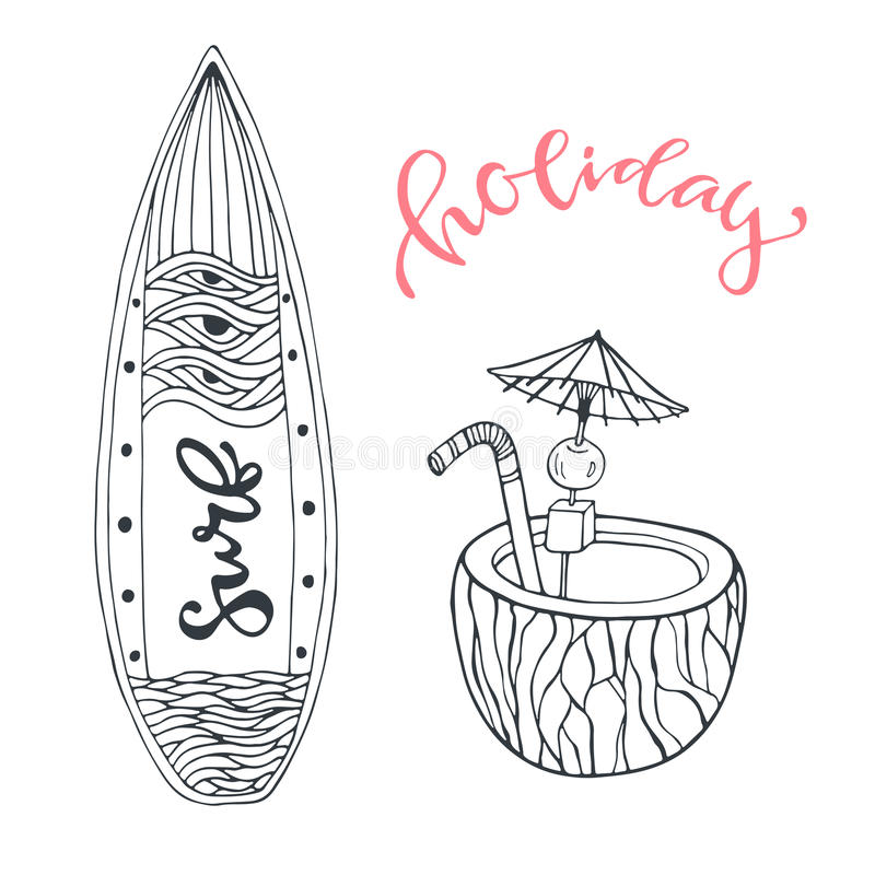 As férias ajustadas da praia do verão do ícone com prancha e o coco bebem Ilustração tirada mão do vetor da garatuja para o proje ilustração do vetor