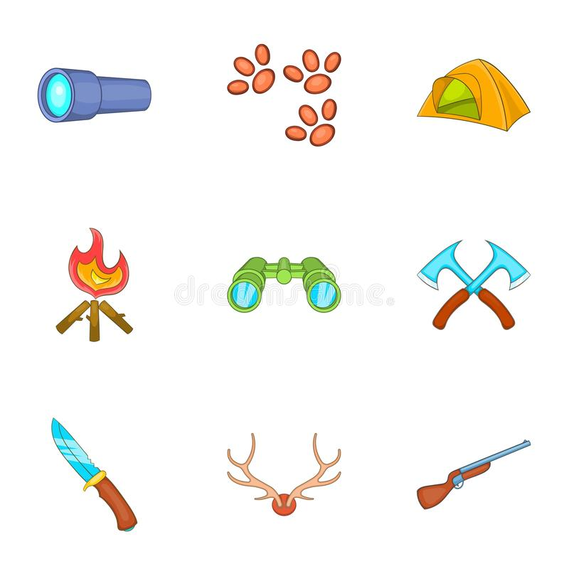 Download As Férias Em ícones Da Floresta Ajustaram-se, Estilo Dos Desenhos Animados Ilustração do Vetor - Ilustração de cartoon, campfire: 80101352