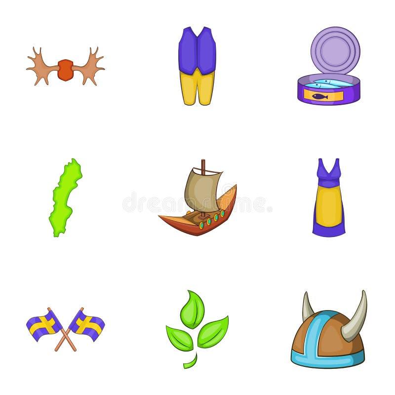 Download As Férias Em ícones Da Suécia Ajustaram-se, Estilo Dos Desenhos Animados Ilustração do Vetor - Ilustração de antigo, naturalizado: 80101221