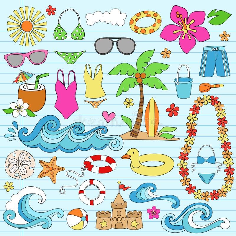 As férias havaianas da praia do verão Doodles o vetor ilustração stock