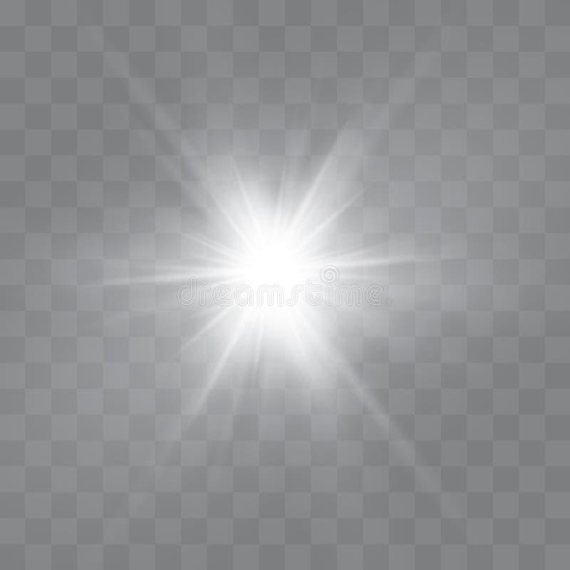 As faíscas amarelas brilham efeito da luz especial O vetor sparkles no fundo transparente Teste padrão abstrato do Natal ilustração royalty free