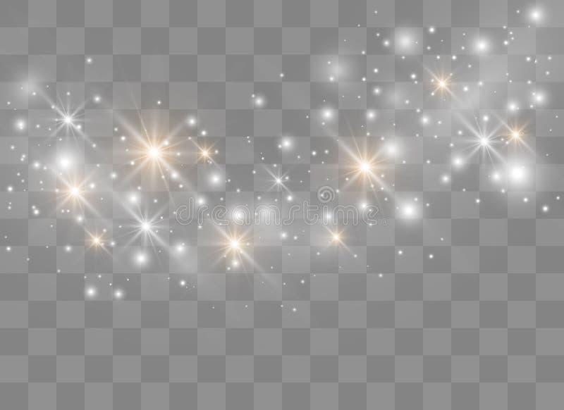 As faíscas brilham efeito da luz especial O vetor sparkles no fundo transparente Teste padrão abstrato do Natal Poeira mágica efe ilustração do vetor