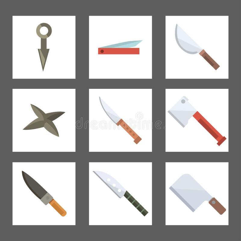 As facas que cozinham facas da refeição do cozinheiro chefe cardam a ilustração inoxidável do vetor da ferramenta da lâmina do re ilustração stock