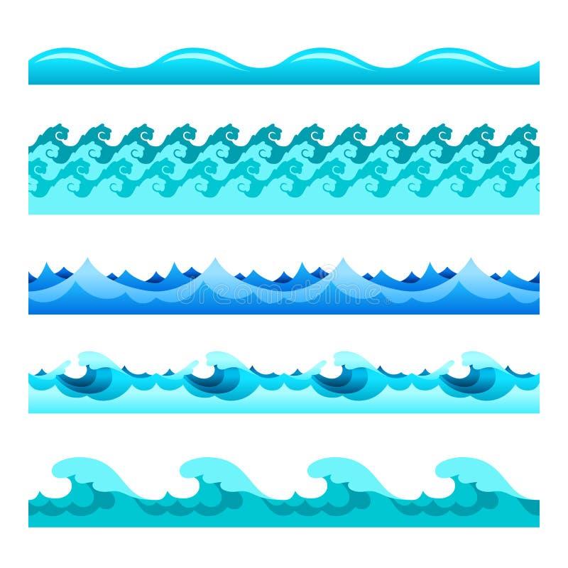 As faixas sem emenda do vetor de onda da água azul ajustaram-se para pés de página, testes padrões e texturas ilustração do vetor