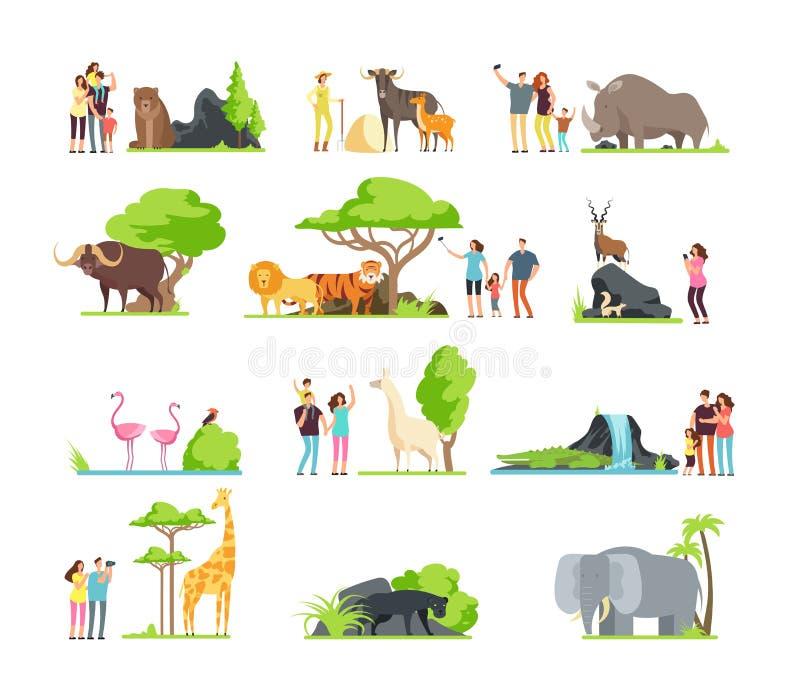 As famílias felizes, as crianças com pais e os animais selvagens do jardim zoológico nos animais selvagens estacionam Grupo dos d ilustração stock