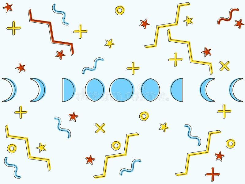 As fases da lua ao estilo de Memphis Elementos geométricos memphis ao estilo 80 do ` s Vetor ilustração royalty free