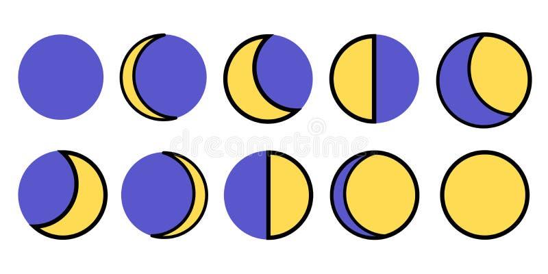 As fases da lua O ciclo inteiro da lua nova a completamente Ilustração do vetor ilustração royalty free