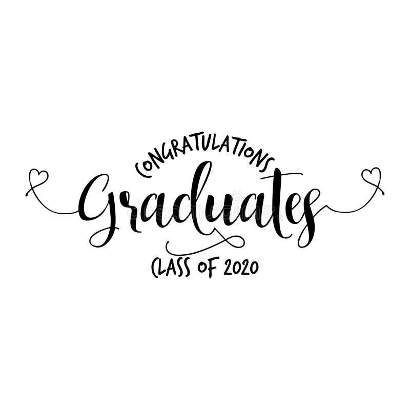 As felicitações da Web graduam uma classe de 2020 - tipografia ilustração stock