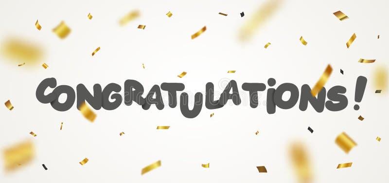 As felicitações projetam com fita e confetes do ouro ilustração stock