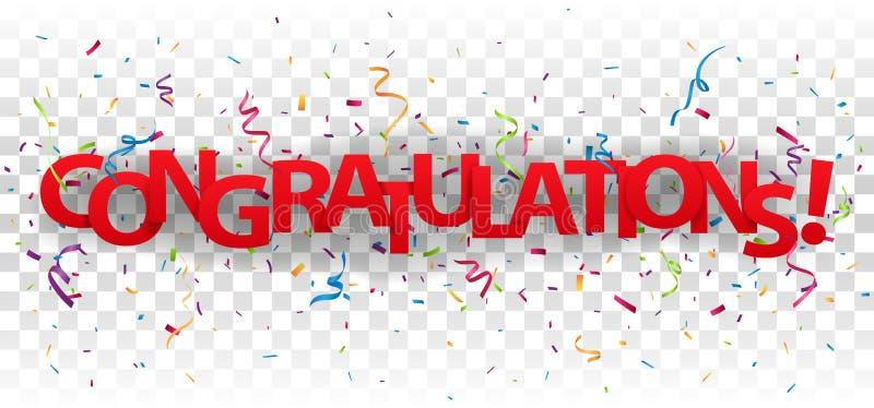 As felicita??es assinam letras com confetes coloridos ilustração stock