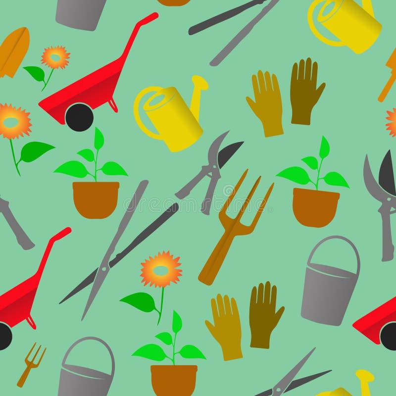 As ferramentas de jardinagem do quadrado modelam o fundo sem emenda ilustração royalty free