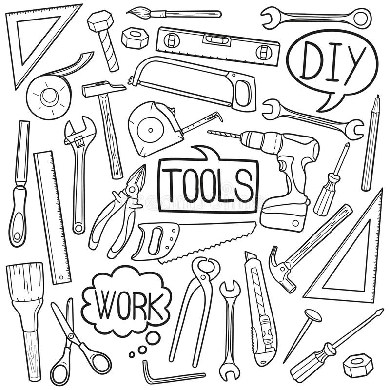 As ferramentas DIY dirigem do esboço tradicional dos ícones da garatuja do equipamento o vetor feito à mão do projeto ilustração do vetor