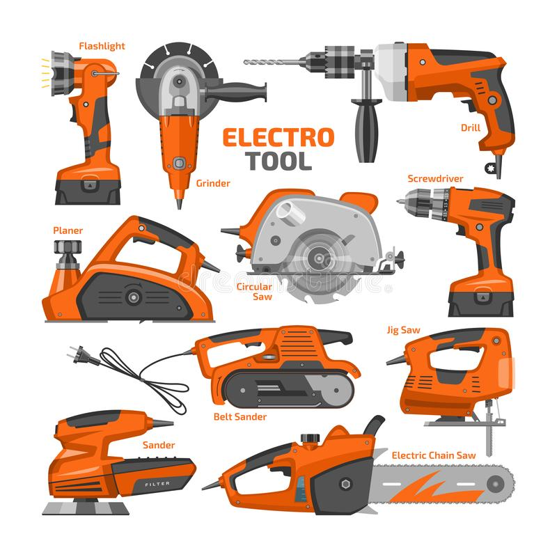 As ferramentas elétricas vector o moedor da poder-plaina do equipamento de construção e o grupo bondes da maquinaria da ilustraçã ilustração stock