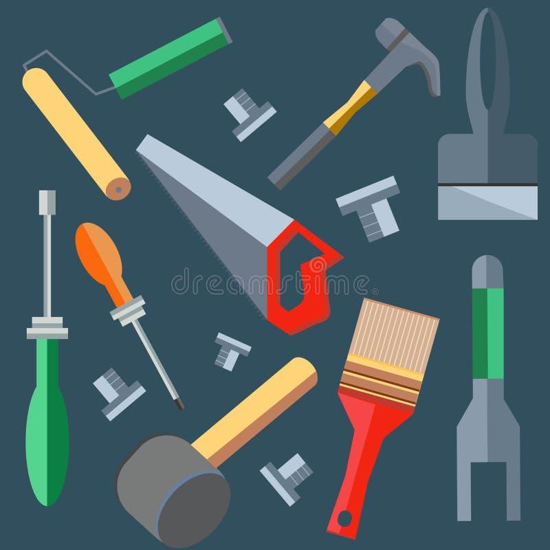 As ferramentas martelam, serra, chave de fenda, espátula, escova ilustração stock