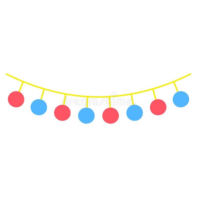 as festões, bandeiras do partido coloriram o ícone O elemento de fogos-de-artifício coloridos party o ícone para apps móveis do c ilustração royalty free