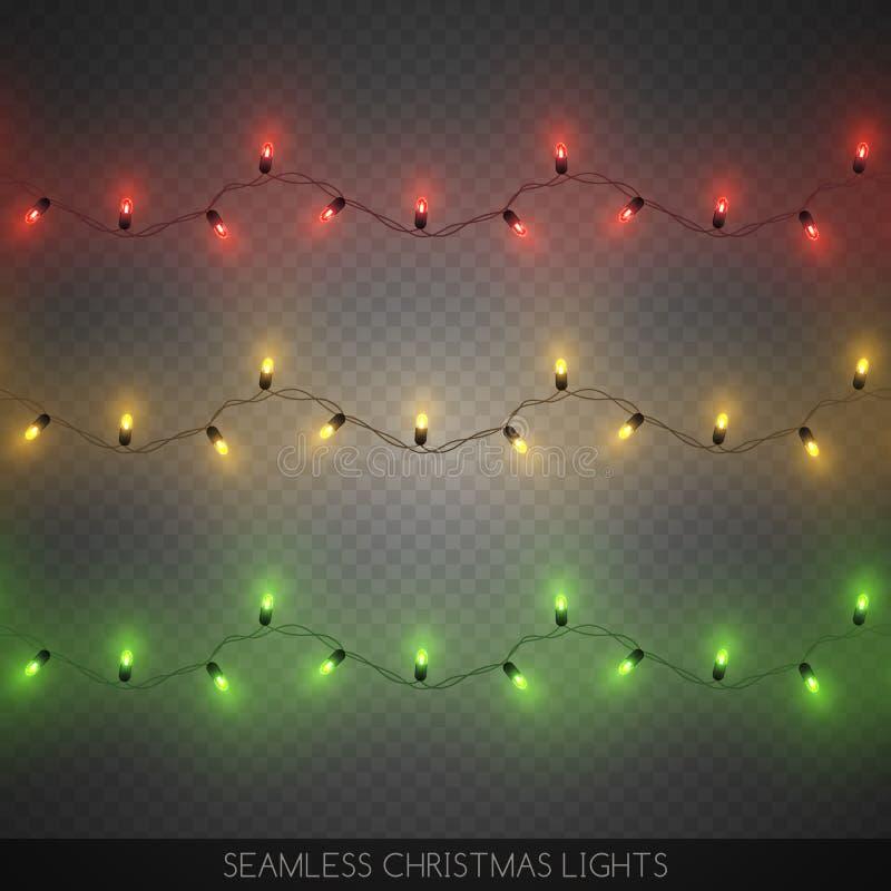 As festões coloridas decorativas sem emenda da ampola ajustaram-se, Natal ilustração do vetor