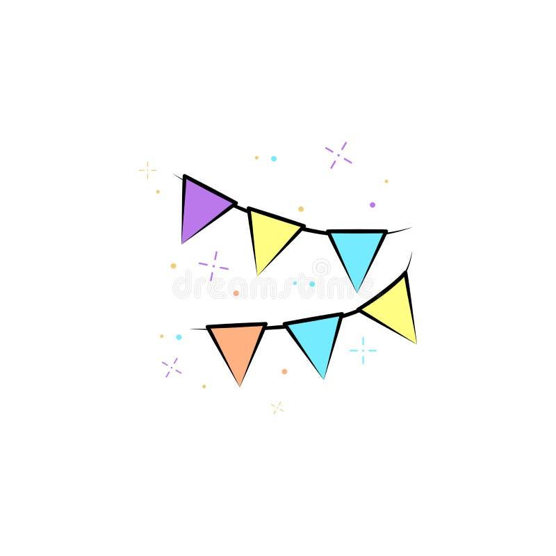 As festões coloriram o ícone Elemento do ícone colorido do circo para apps móveis do conceito e da Web O ícone das festões da cor ilustração royalty free