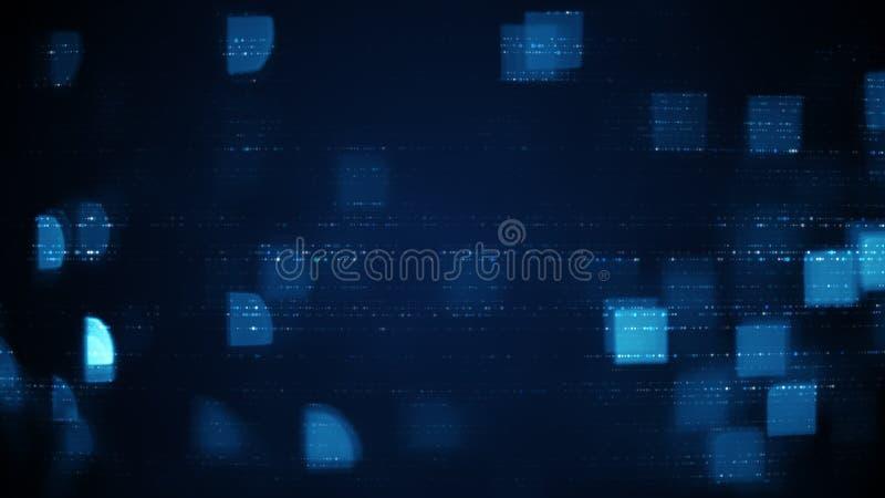 As fileiras azuis de símbolos abstratos e de quadrados borraram luzes ilustração royalty free