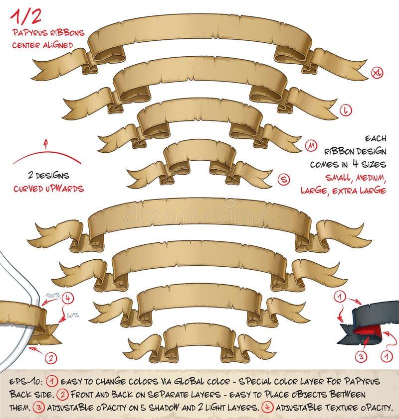 """As fitas do papiro curvaram o †ascendente """"dois projetos por quatro tamanhos ilustração stock"""