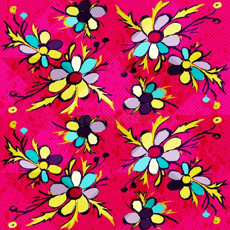 As flores abstratas dos grafittis em um fundo cor-de-rosa vector a ilustração ilustração stock