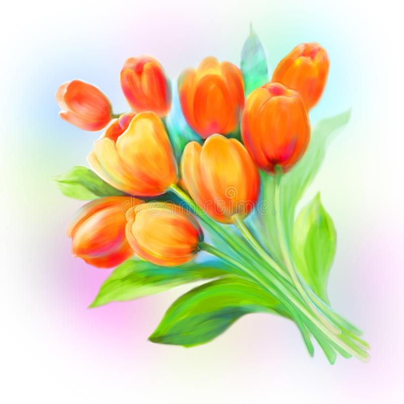 As flores alaranjadas da tulipa saltam pintura fotos de stock
