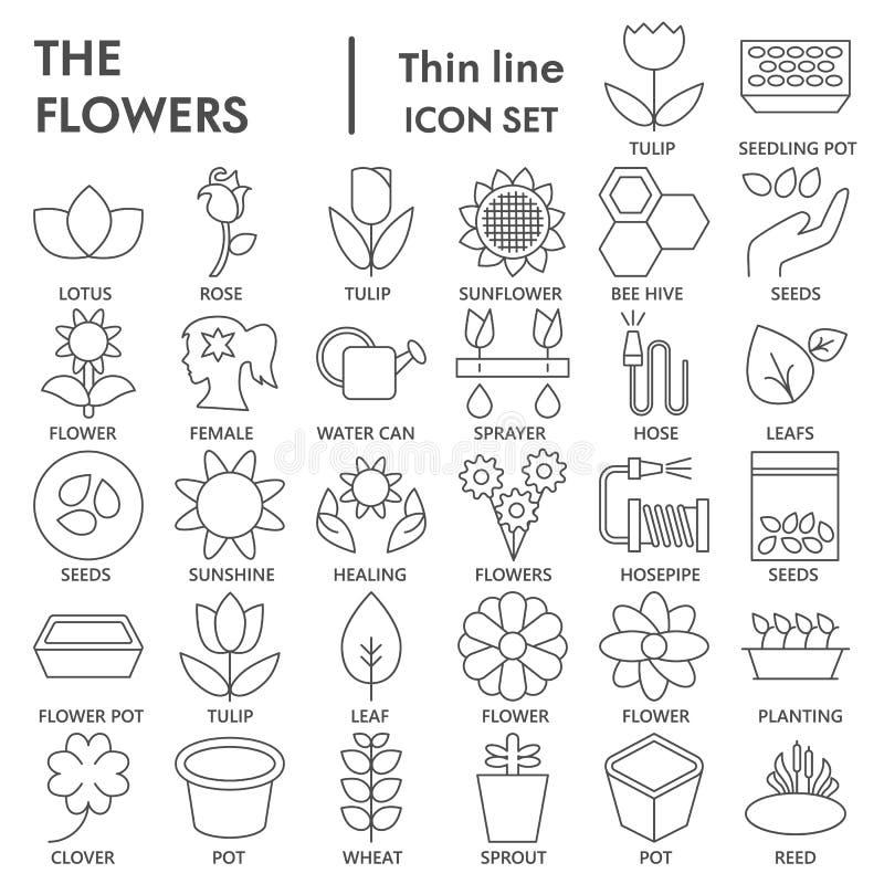 As flores alinham finamente o grupo ASSINADO do ícone, símbolos de jardinagem coleção, esboços do vetor, ilustrações do logotipo, ilustração royalty free